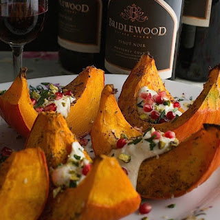 Roasted Kabocha With Tahini Dressing.