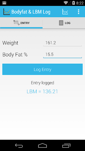 Body fat and LBM log