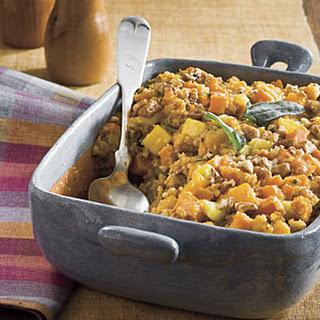 Cornbread Stuffing With Sweet Potato and Squash.