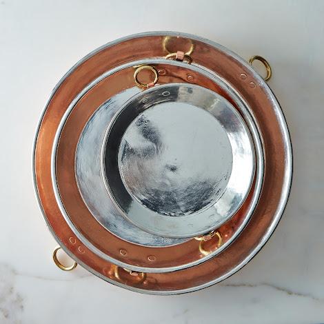 Vintage Copper English Round Gratin Pie Plate, Late 19th Century