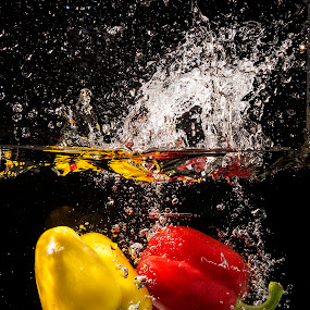 red and yellow peppers by Mona Martinsen - Food & Drink Fruits & Vegetables ( fruits og vegetables, food og drinks,  )