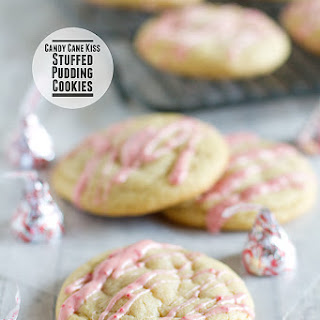 Candy Cane Kiss Stuffed Pudding Cookies