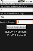 Screenshot of Quick Random Number Generator
