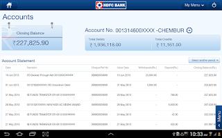 Screenshot of HDFC Bank Tablet