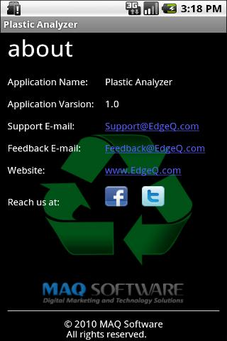 Plastic Analyzer - screenshot