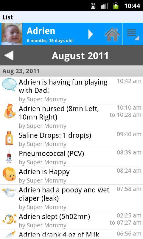 Baby Connect (activity logger) - screenshot
