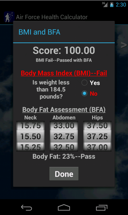 Air Force Health PT Test Calc - screenshot