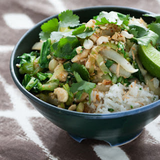 Coconut Jasmine Rice with Bok Choy, Cashews & Golden Raisins.