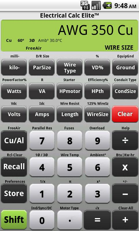 Electrical Calc Elite Electric- screenshot