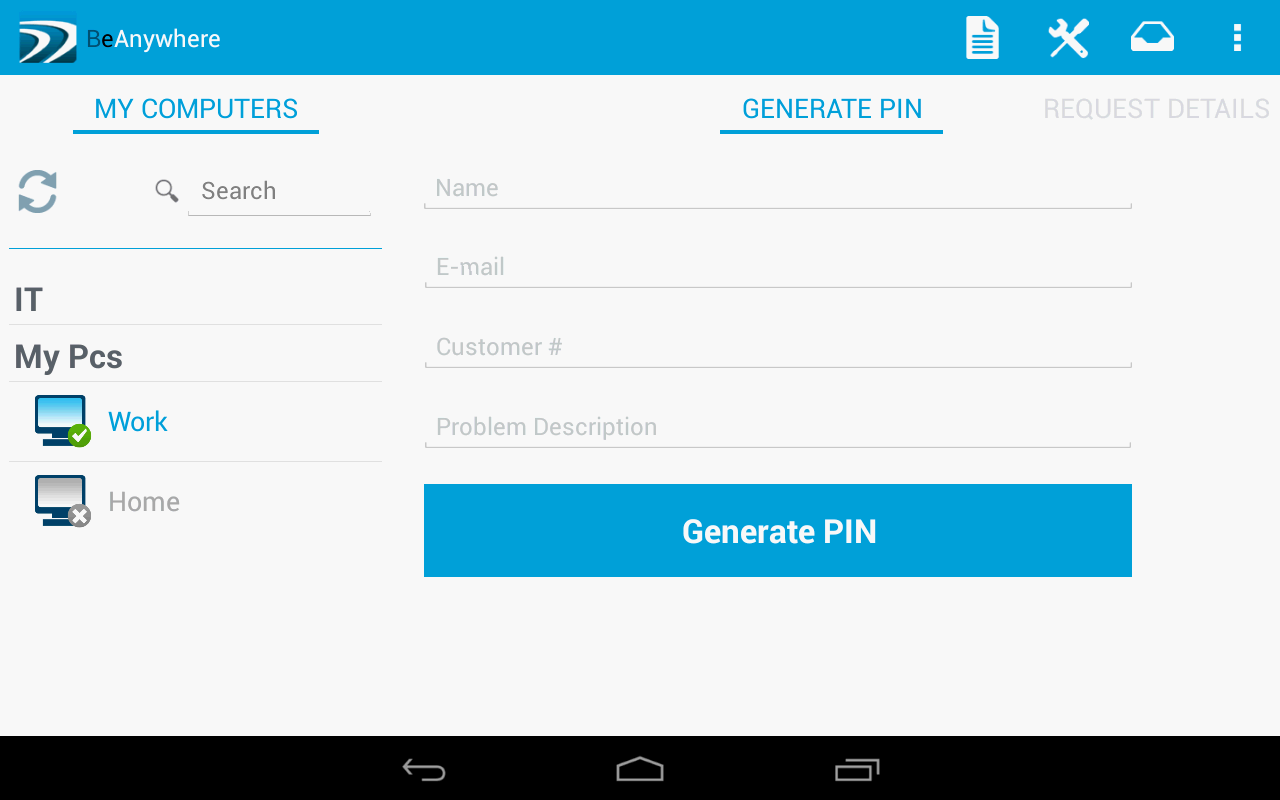BeAnywhere Mobile Console- screenshot
