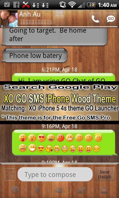 Pink Monkey theme GO SMS PRO- screenshot
