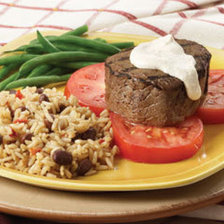 Pan-grilled Beef With Cajun Cream Sauce.