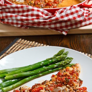 Cod Baked in a Tomato and Feta Sauce.