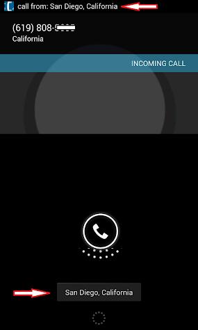 City State ID on incoming call Screenshot