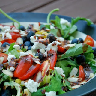 Summer Kale Salad with Blueberry Balsamic Vinaigrette