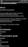 Screenshot of Swedish-English Dictionary