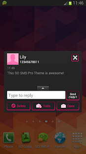 GO SMS Pro Theme Pink Neon - screenshot thumbnail