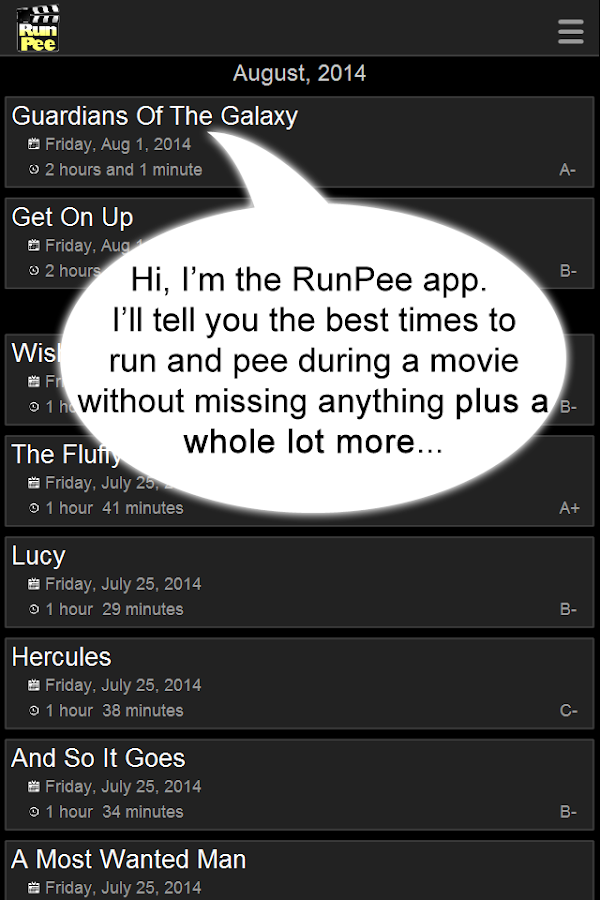 RunPee. - screenshot