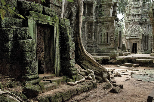 Ta Prohm Temple, shrouded in dense jungle, has been left untouched by archaeologists except for the clearing of a path for visitors and some structural strengthening. See the landmark, built around 1186 A.D., during a G Adventures expedition of Cambodia.