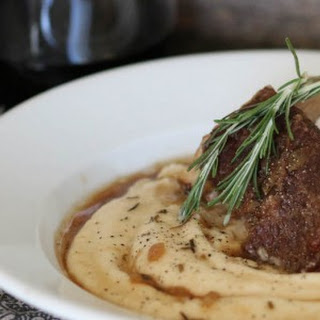 Braised Short Ribs over Roasted Garlic Mashed Cauliflower