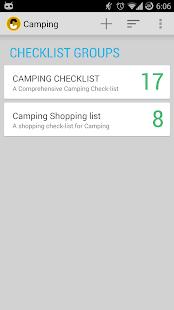 Camping Checklist Screenshot Thumbnail