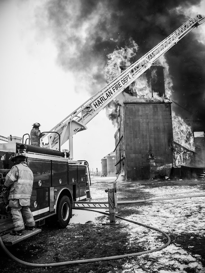 Grain Elevator Fire B&W by Gary Wahle - Black & White Street & Candid ( iowa, portsmouth, firetruck, grain elevator fire, fire department,  )