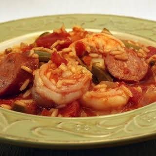 Andouille Sausage and Shrimp Jambalaya.