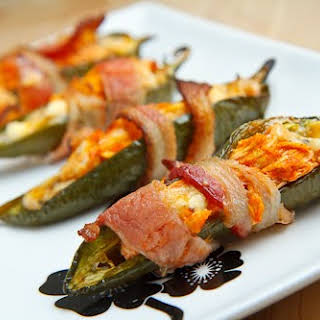 Bacon Wrapped Buffalo Chicken Jalapeno Poppers.