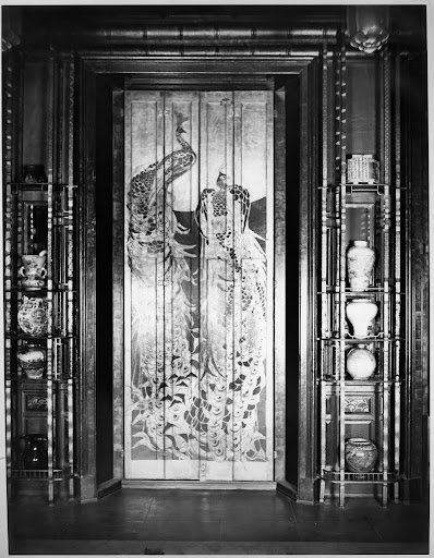 Detail of south wall of the Peacock Room, 1908, Detroit. Photographed by George Swain