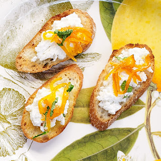 Crostini with Ricotta Cheese and Tangerine Marmalade.