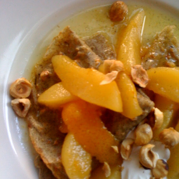 Hazelnut-Buckwheat Crepes with Pear-Ginger Compote and Creme Fraiche Recipe