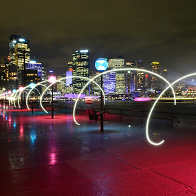 City Rings by Christopher Imperial - City,  Street & Park  Night ( night time, long exposure, night, night shot, nightscape, city )