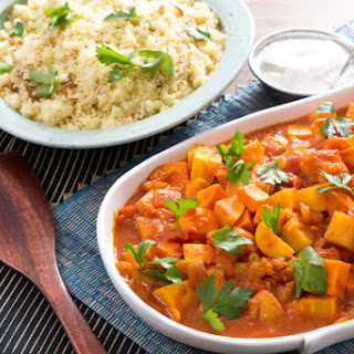Moroccan Root Vegetable Tagine with Almond Couscous & Lemon-Yogurt Sauce.