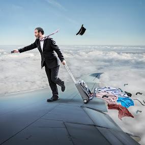 High Flyer by Joan Blease - Digital Art People ( flyer, flight, businessman, comedy, plane wing, funny, suit, humor, rushing, man )