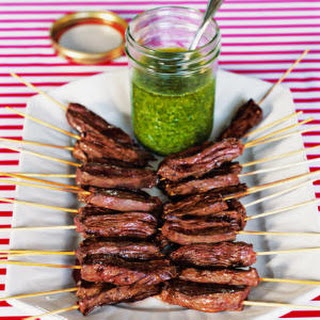 Skirt Steak Skewers with Cilantro-Garlic Sauce.