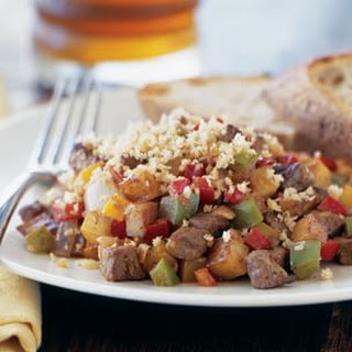 Flank Steak Hash with Bell Peppers.