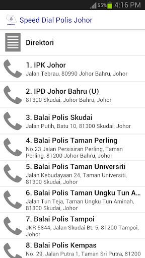 Speed Dial Polis Johor