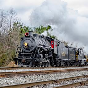 Chuggin' Along by Bokeh Phototography - Transportation Trains ( chris ellis, southern, engine, locomotive, d7000, train, alabama, nikon, 630, steam )