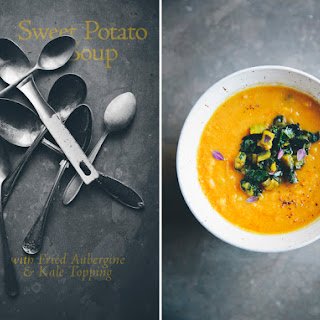 Sweet Potato & Red Lentil Soup with Aubergine & Kale Topping.