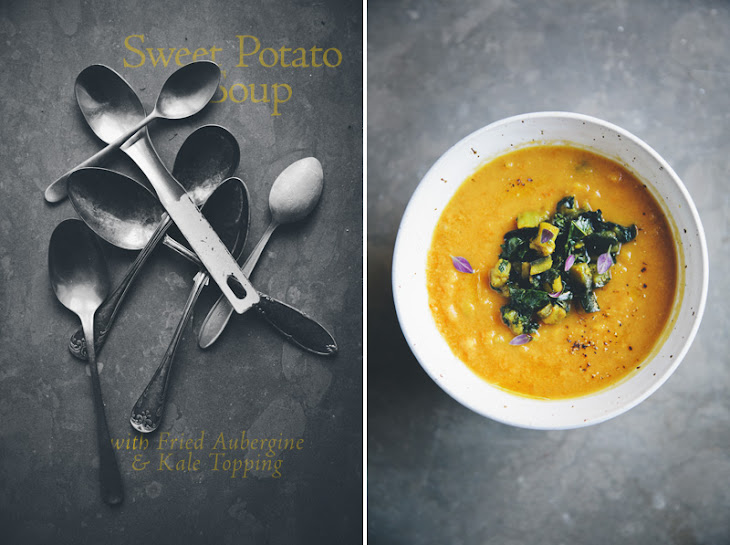 Sweet Potato & Red Lentil Soup with Aubergine & Kale Topping Recipe