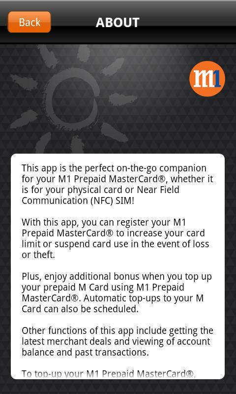 M1 Prepaid MasterCard- screenshot