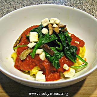 Mushroom Spinach Polenta Bowls