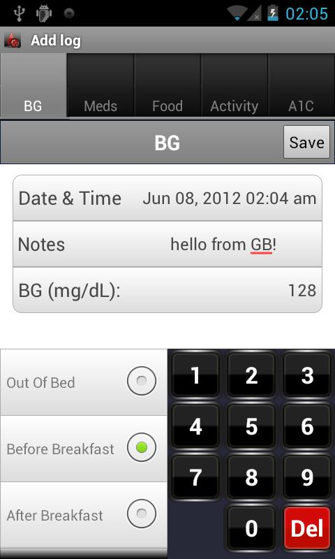 Glucose Buddy : Diabetes Log- screenshot