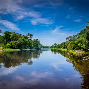 Reflection by Ted Khiong Liew - Landscapes Waterscapes ( #blue sky #river #clear water )