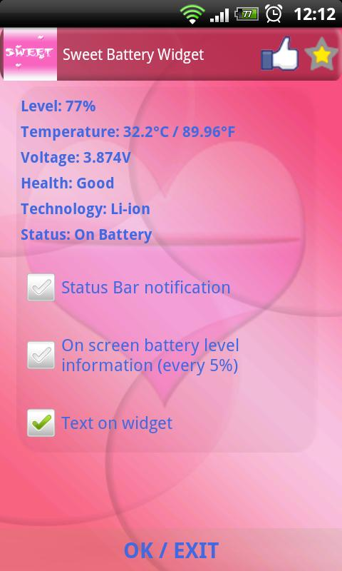 Sweet Battery Widget - screenshot