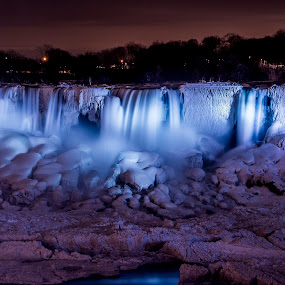 Winter Ice Formations by John Witt - Landscapes Caves & Formations ( iluminated, ice, falls, long exposure, frozen,  )