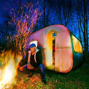 NO STRESS by Nick-Nikola Mraovic - Landscapes Prairies, Meadows & Fields ( camper, camp fire, warm, night, fields )