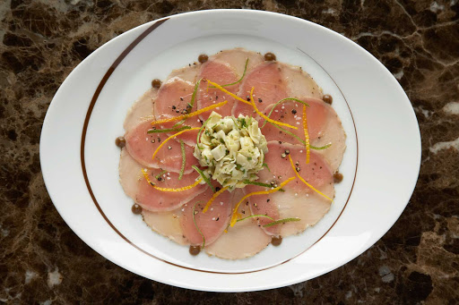 CEL_Tuscan_tuna_carpaccio - The tuna carpaccio prepared in Celebrity Cruises's Tuscan Grille.
