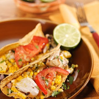 Grilled-Fish Tacos with Roasted-Chile-and-Avocado Salsa.
