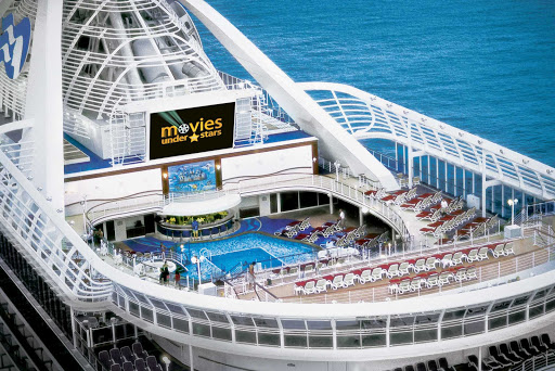 Princess-Cruises-Movies-Under-Stars - Watch the latest films, family fare and sporting events on a 300-square-foot digital screen while relaxing at the pool under a backdrop of sea and stars on your Princess cruise.
